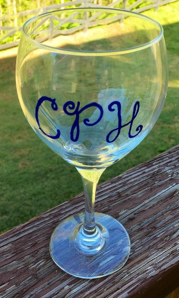 Hand Painted Monogram Wine Glass Custom Monogram Monogrammed