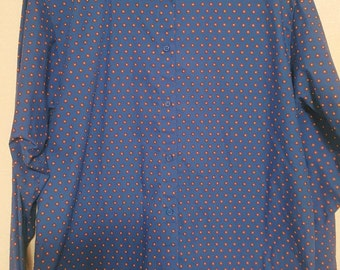 Vintage Blue Long Sleeve Button-Up With Red Flowers
