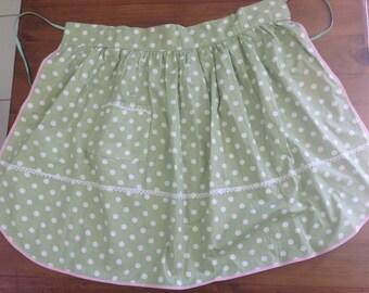 Mint green polka dot apron