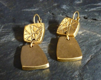 Hinged earrings in pewter silver or Golden, homemade