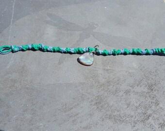 Green Blue Hemp Woven Bracelet With Beautiful Small Shell Pendant