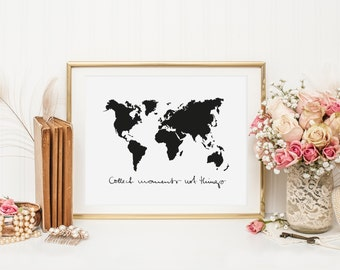 Poster, Print, Wallart: Worldmap - Collect moments not things