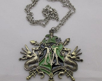 Draco Malfoy Wizarding Family Crest / HARRY POTTER / Antique Gold Pendant Necklace