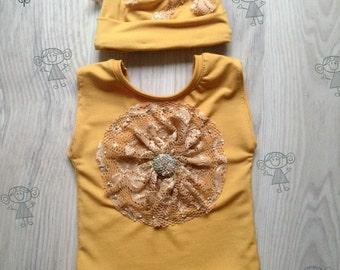 Newborn Girl Set, Newborn Romper Prop, Newborn Lace Romper, Newborn Photo Prop, Newborn knit Romper, yellow, girl prop, newborn girl, lace