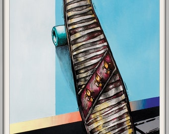 Skateboard | Original Artwork | Mixed Media on Paper | by Marie-Eve Champagne | California Skateboard | Beach Style