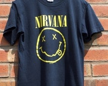 Nirvana Unofficial 2 sided Flower Sniffin Corporate Rock Whores Smiley Face Tour Concert T-shirt Tee Retro Grunge Alt Rock