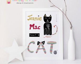 Irish Saying, Irish Gift, Funny Sayings, Modern Irish, Typography Print, Cat Illustration, Wall Decor, Funny Print, Irish, Black Cat
