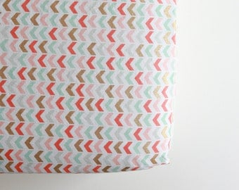 Fitted Crib Sheet - Ready to Ship - Toddler Sheet - Pink Gold Teal Chevron