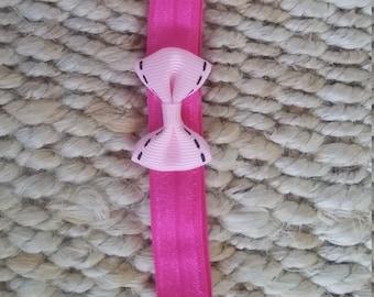 Hot pink headband with light pink mini bow