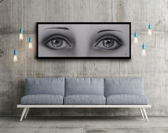"Cosmetic Painting.Eye painting, ""51 ""19 (130X50 cm), Original Painting on Canvas,Hand Made  by Tomer Sharabani"