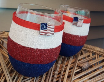 Patriotic Wine Glasses - Red White and Blue - America - Memorial Day - 4th of July