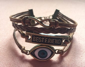 Bargain Sale! All Seeing Eye Best Friend Infinity Personalized or Friendship Wrap Bracelet Gift