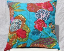 Quilted indian throw cushion kantha pillow cover outdoor ethnic pillows decorative pillows india blue kantha cushion outdoor pillow 16x16