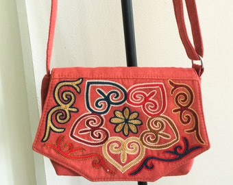 Small crossbody bag- hand embroidered