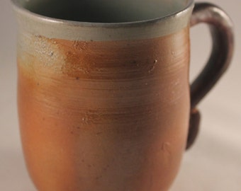 Unique Wheel-thrown Wood-Fired Classy PotteryMug with Brown Handle