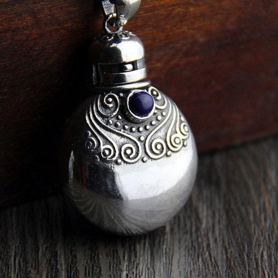 Sterling silver perfume bottle pendantsterling by for Pill bottle jewelry