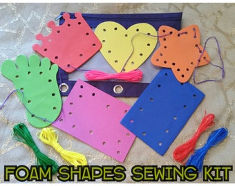 Busy Bag Foam Shapes Sewing Kit