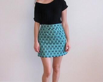 Funky Skirt, Turquoise Skirt, A Line Skirt, Small Skirt, Blue Skirt, Print Skirt