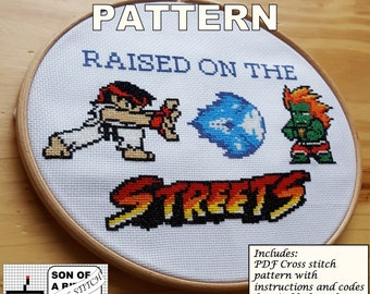 Raised on the Streets PDF Cross Stitch Pattern / Instant Download / Street Fighter / Ryu / Blanka