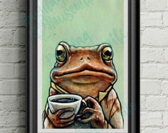 INSTANT DOWNLOAD: Toad and Coffee Nursery Printable Art. 4x6, 5x7 and 8x10
