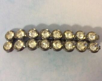 Vintage 1930s Rhinestone Collar Pin Silver Tone Metal or Crystal Bar Brooch