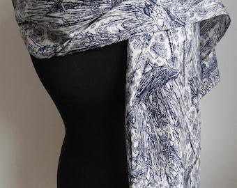 Scarf silk white and dark blue - unique