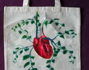 Eco Heart Tote Bag OOAK Shopping Bag Unique Market Bag Eco Vegan Vegetarian Nature Lover Ivy Earth Love Handpainted Canvas Bag