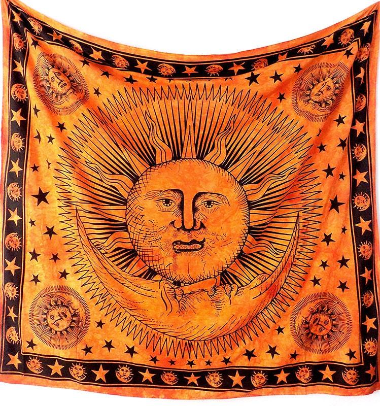 Cotton handmade fabric sun moon tapestry hippie by for Sun and moon fleece fabric