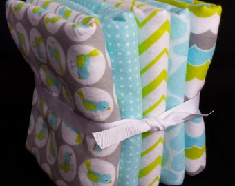 Baby Burp Cloth - Set of 5 or Set of 3 - Blue & Green Birds