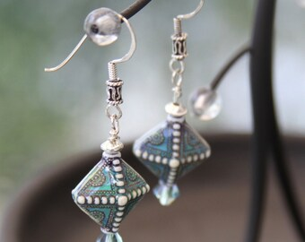 TerisArt One of a Kind Color Changing Blue Dangle Earrings