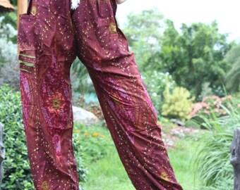 Thai Harem Pants Hippie Boho Yoga Crimson Red