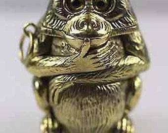Vintage Monkey Brass Vesta Case