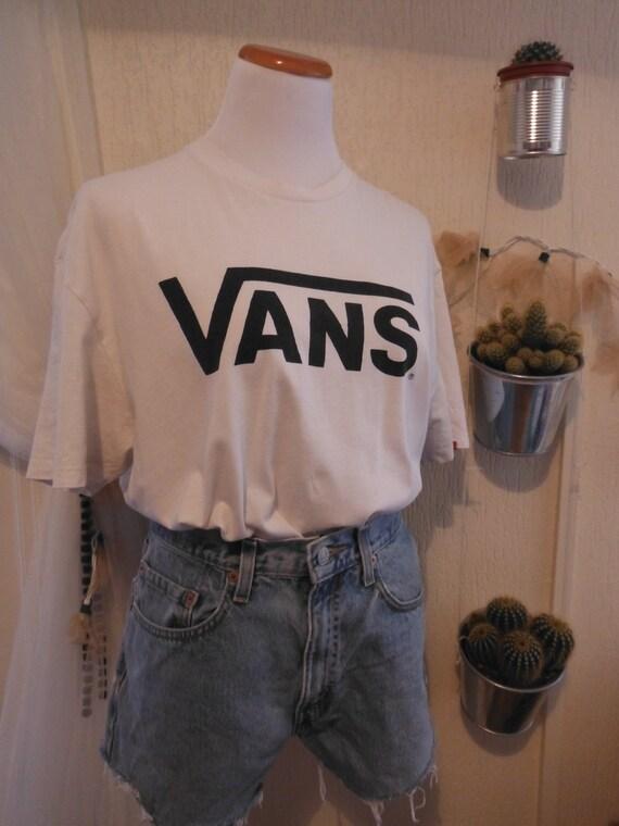 Vans White T-shirt - Short Sleeve - Black Logo - XL Extra Large - Vintage