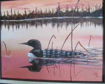 Sunset Loon - framed 11x14