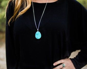 Teardrop Turquoise Pendant on Sterling Silver Chain//Southwest Turquoise//Gifts for her