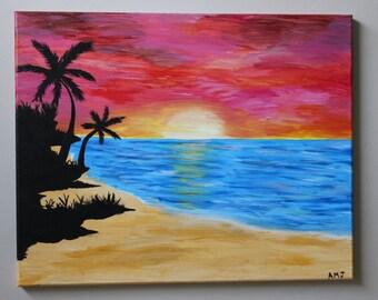 "Sunset at Beach 16""x20"""