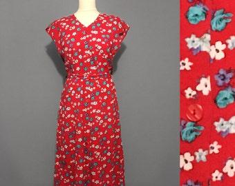 1980s Vintage Red floral dress