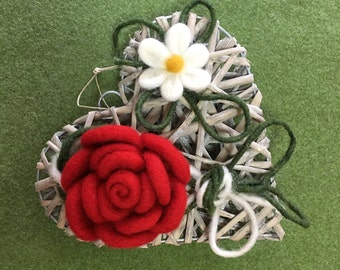 Christmas Wreath for the front door with felted wool flower decorations can be customized.