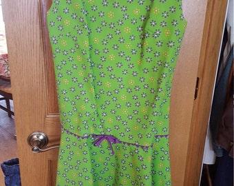 Vintage Green Purple 1960's Floral Mod Go Go Dress Summer Dress