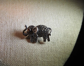 stunning vintage sterling silver garnet and marcasite elephant brooch perfect for election season