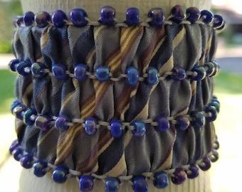 Bracelet - Upcycled Silk Necktie - Beaded Cuff Bracelet-English Smocking