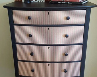 Antique Five (5) Drawer Decoupage Dresser (Local Delivery Only - Ocean County, NJ)
