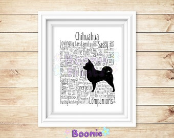 Chihuahua (LongOrShort) Print Art Word Typography On Top Quality A4 Card