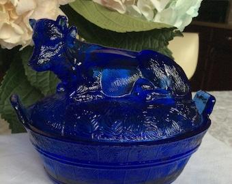 Cobalt Cow on Barrel, Indiana glass?