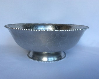 Vintage Aluminum Dogwood Pattern Footed Bowl