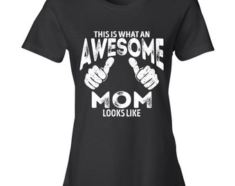 Awesome Mom t shirt, Mothers day gift, personalized adult womens t shirt, gift for mom BLACK