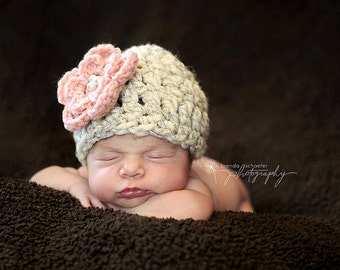 Baby girl hat, newborn girl hat, girl hat with flower, newborn photo prop, baby girl clothes, coming home outfit, baby girl