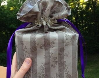 Taupe Stripe Fabric Gift Bag - Medium