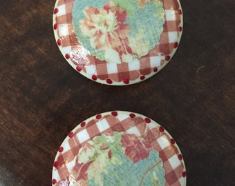 1.5 inch  Red and white gingham French country shabby chic farmhouse kitchen decoupaged  floral blue cabinet drawer  knobs pulls
