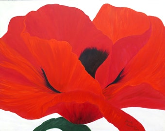 Poppy seeds, modern painting in bright red on white,